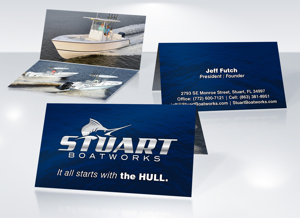 Stuart boatworks business card design jh design unlimited stuart boatworks business card design printing psl reheart Choice Image