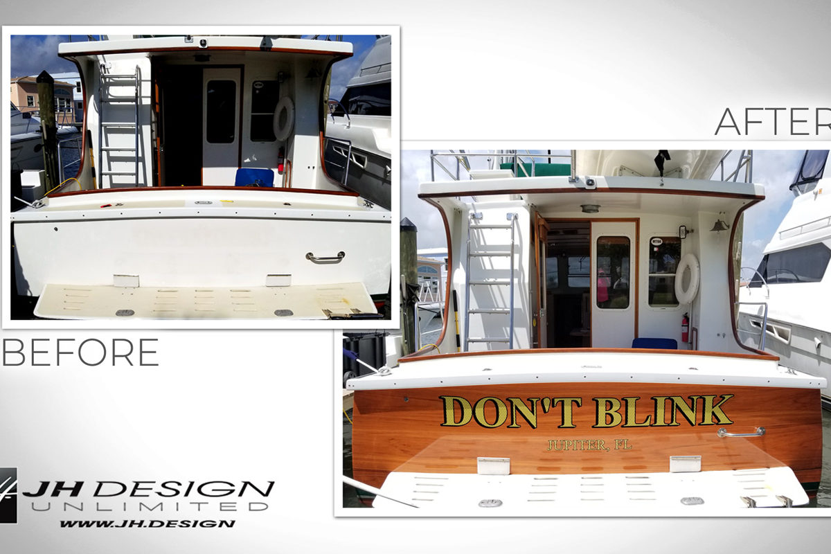 Boat lettering Hutchinson Island Florida