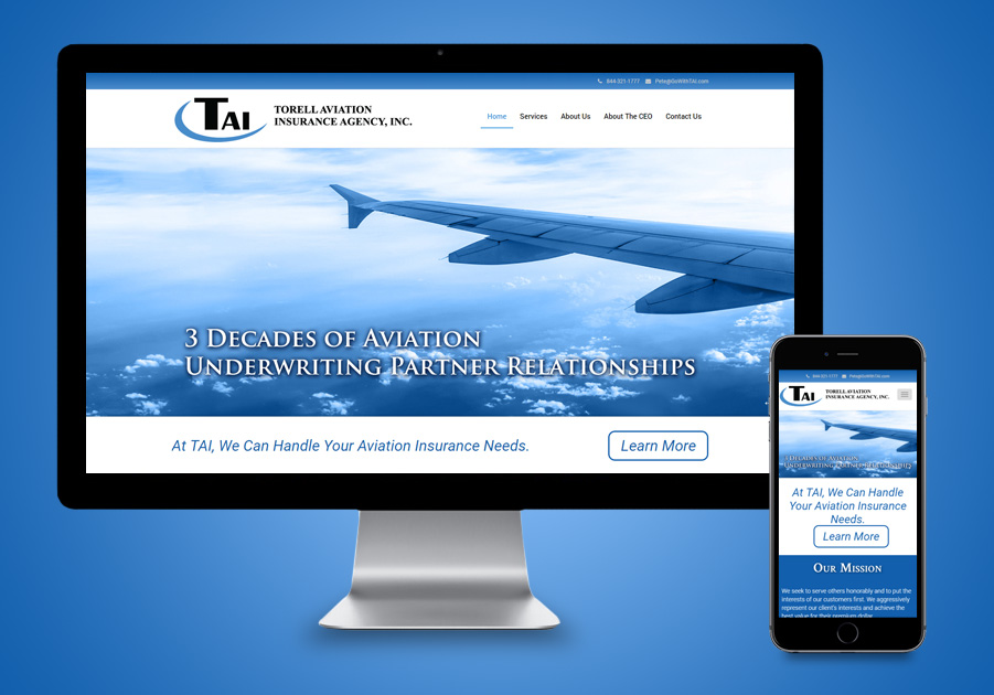 Palm Beach Website Designer - Torell Aviation Insurance